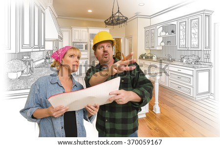 Contractor Talking with Customer Over Custom Kitchen Drawing and Photo Combination. - stock photo
