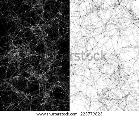 Contrast black and white digital background with cybernetic particles - stock photo