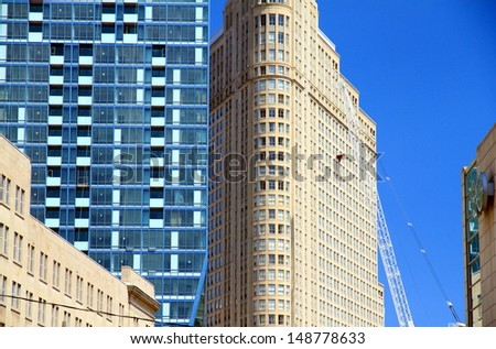 Contrasting architecture in Downtown Toronto - stock photo