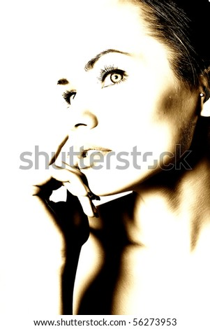 contrasting picture of women - stock photo