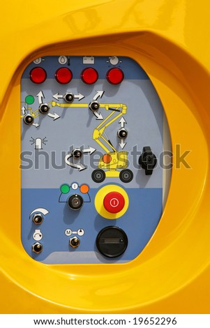 Control board with buttons of industrial crane - stock photo