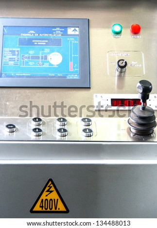 Control panel at aerobridge in airport - stock photo