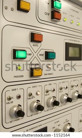 Control panel of a clean-room equipment - stock photo
