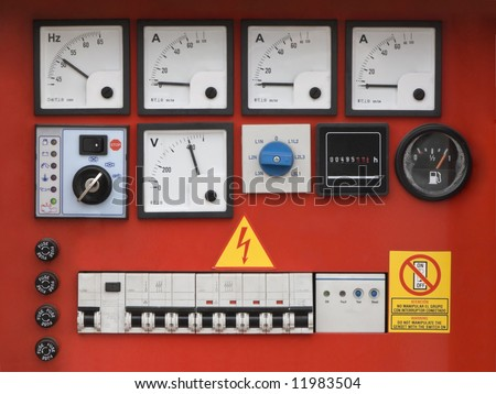 Control panel of fuel power generator. - stock photo