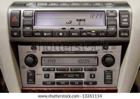 Control panel of luxury car - stock photo
