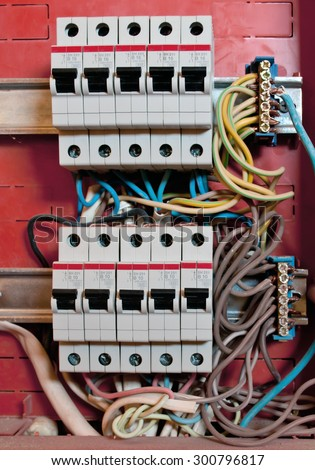 control panel with energy circuit-breakers - stock photo