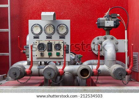 Control Panel with Pressure guage and Industry Valve - stock photo