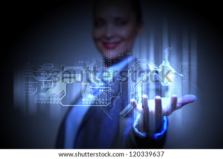 Control programming algorithm block with business person on the background - stock photo