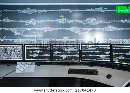 control room closeup , modern electronic technology background  - stock photo