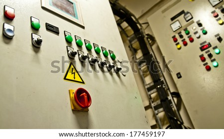Control Room of an extra large ship - stock photo