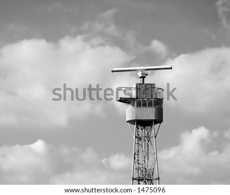Control tower at industrial harbor, black and white - stock photo