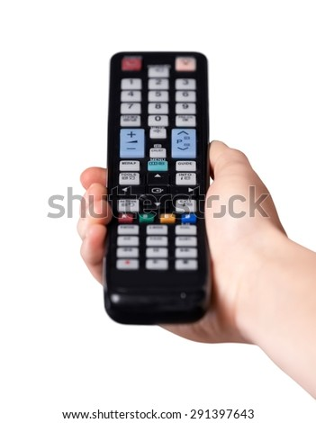 Control, tv, human hand. - stock photo