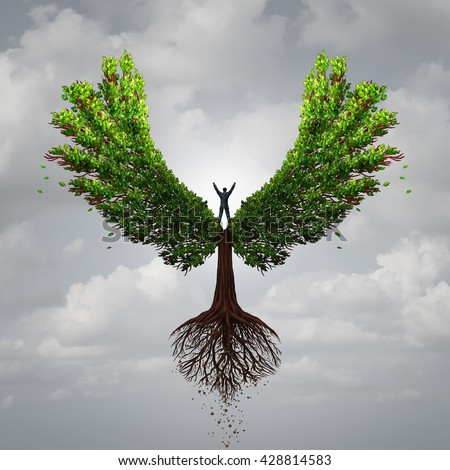 Control your life opportunity concept as a person taking charge and controlling a tree with wings flying to a goal for success as a psychology symbol for positive thinking in a 3D illustration style. - stock photo