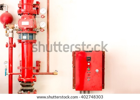 Controller and tube of water sprinkler and fire fighting system - stock photo