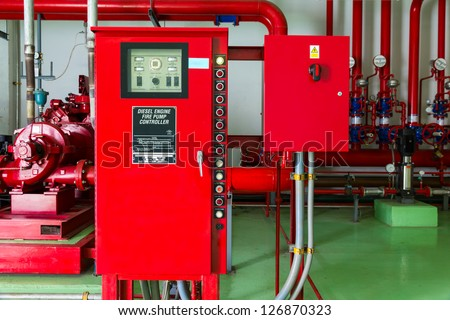Controller of water sprinkler and fire fighting system - stock photo