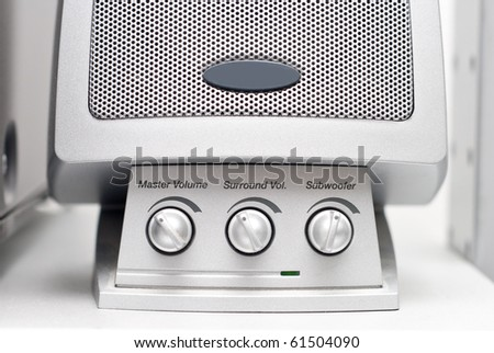 Controls on a Computer Speaker - stock photo