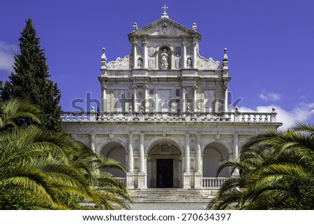 Convent of Santa Maria Scala Coeli, popularly called Cartuxa Convent, a religious building founded in December 8, 1587, located in the town of Evora, Alentejo, Portugal. - stock photo