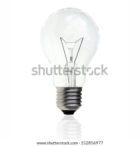 Conventional light bulb on white background. - stock photo
