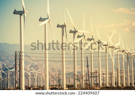 Conversion of Wind Energy. Wind Turbines at Coachella Valley Wind Farm. - stock photo