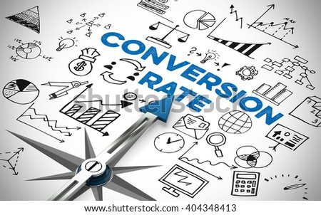 Conversion rate in online marketing with many icons and symbols (3D Rendering)