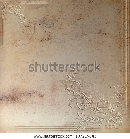 Convex floral pattern on grunge beige background - stock photo