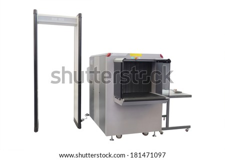 conveyor belt and metal detector under the white background - stock photo