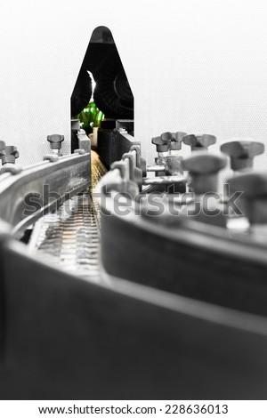 conveyor belt, bottle washer - stock photo