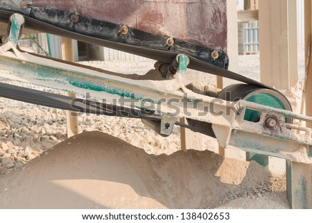 Conveyor belt of lime industry - stock photo