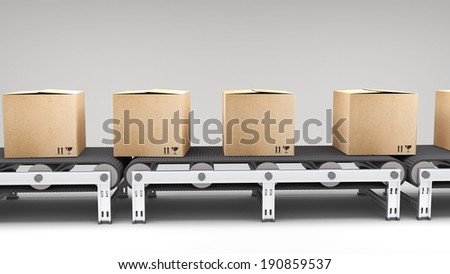 conveyor belt with cartons  for use in presentations, manuals, design, etc. - stock photo