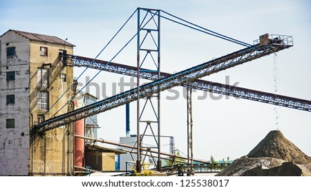 conveyor belts at a gravel quarry - stock photo