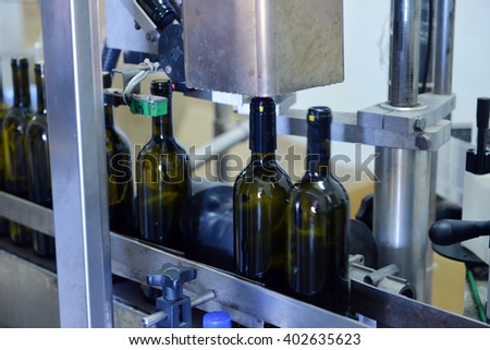 conveyor line at the winery - stock photo