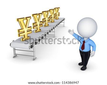 Conveyor with yen symbol.Isolated on white background.3d rendered. - stock photo