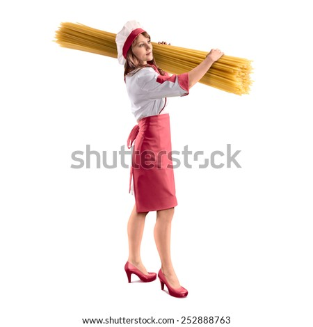 cook girl with large delicious spaghetti on white isolated background - stock photo