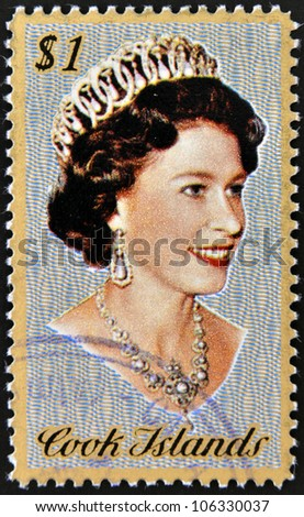 COOK ISLANDS - CIRCA 1974: Stamp printed in Cook Islands shows Portrait of Queen Elizabeth II, circa 1974 - stock photo