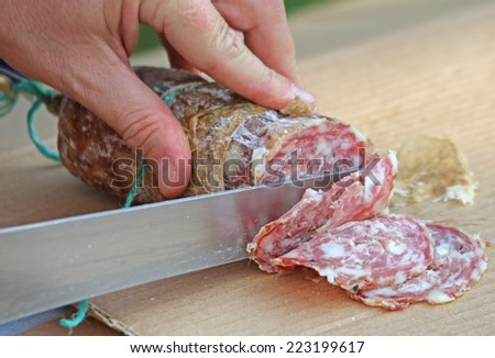 Cook's hand slicing the salami with a knife-sharp - stock photo