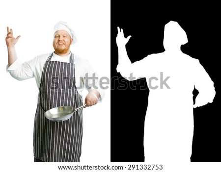 Cook with pan isolated on white - stock photo