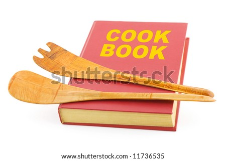 Cookbook and kitchenware, isolated on white background - stock photo