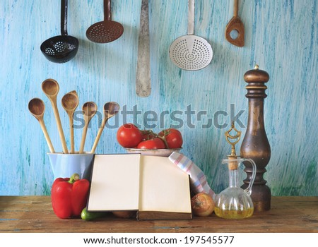 cookbook,ktichen utensils,vegetables, free copy space - stock photo
