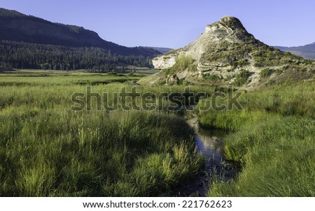 Cooke City, Montana, USA - A soda butte, travertine, caused by hot springs many years ago in the heart of Yellowstone National Park on a fine summer morning near Cooke City, Montana, USA. - stock photo