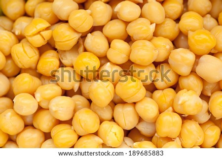 cooked and peeled chickpeas background image - stock photo