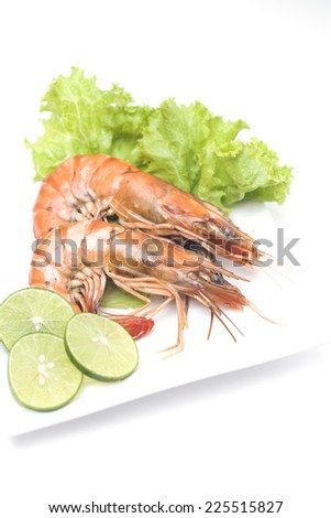 Cooked black tiger shrimp, isolated on white - stock photo