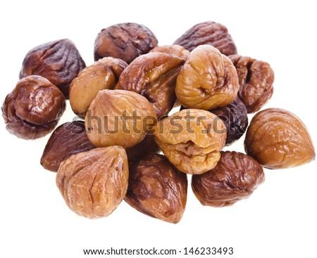 Cooked chestnut fruit isolated on white background  - stock photo