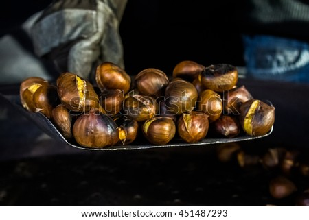 Cooked chestnuts - stock photo