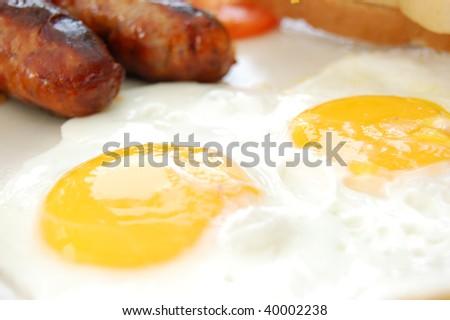 Cooked english breakfast - stock photo