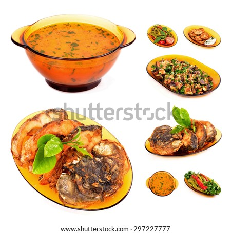 cooked lunch menu of soup, fish, peppers, zucchini ,eggplant isolated white background - stock photo