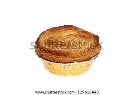 Cooked meat pie in a foil dish isolated against white - stock photo