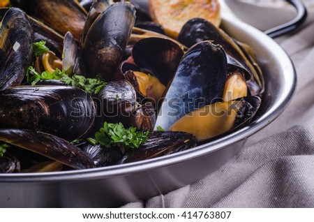 Cooked mussels in a pan close up - stock photo