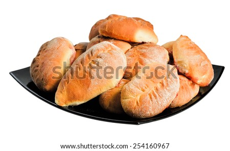 Cooked patties on a plate. Isolated on white background. - stock photo