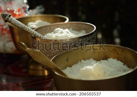 Cooked rice in brass bowl ,The merit of Buddhist ceremony.    - stock photo