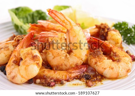 cooked shrimp and parsley - stock photo
